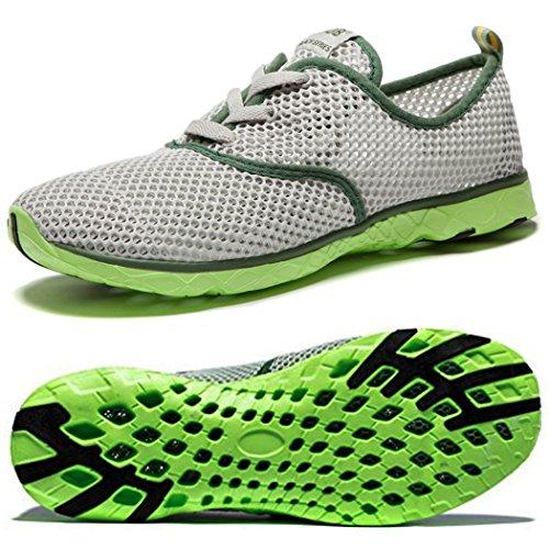 NeedBo NDB Men's Mesh Lace-Up Quick Drying Aqua Water Shoes Breathable Lightweight Fashion Walking Shoes (9.5 D(M) US, Grey)