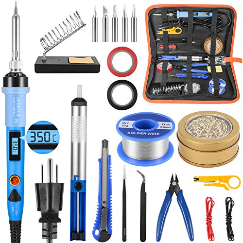 Electronics Soldering Iron Kit, SREMTCH 80W LCD Digital Soldering Gun with Adjustable Temperature Controlled and Fast Heating Ceramic Thermostatic Design, ON-Off Switch 20pcs Solder Kit Welding Tool