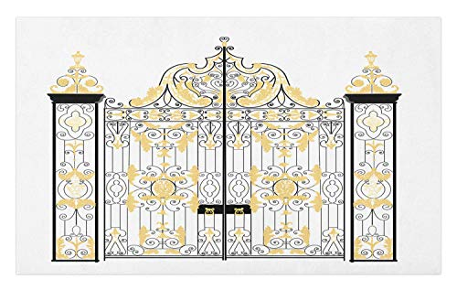 Ambesonne Duke Doormat, Kensington Palace Door Royal Family Duchess of Cambridge, Decorative Polyester Floor Mat with Non-Skid Backing, 30' X 18', Charcoal Grey Pale Yellow and White