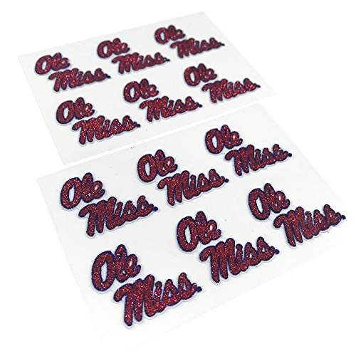 EyeBlack Ole Miss Rebels Glitter Cheek Decals, Perfect for Game Day and Tailgate (12 Decals)