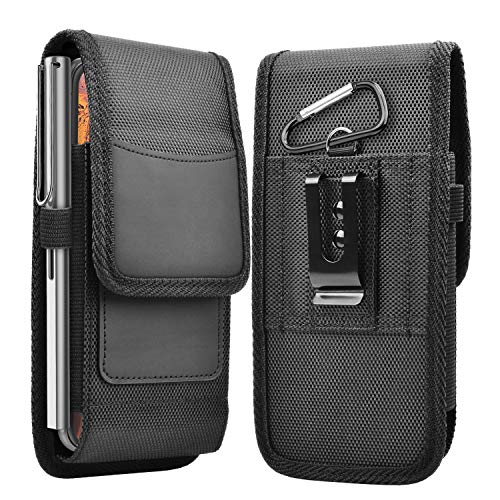 Takfox Phone Holster for Samsung Galaxy S20 Ultra S20 Plus S21 S10+ S9 S8 J7 J3, A01 A11 A21 A51 A71 A10e A20 A30 A12, K51 Stylo 6 Nylon Cell Phone Belt Clip Holster Carrying Pouch w Card Holder,Black