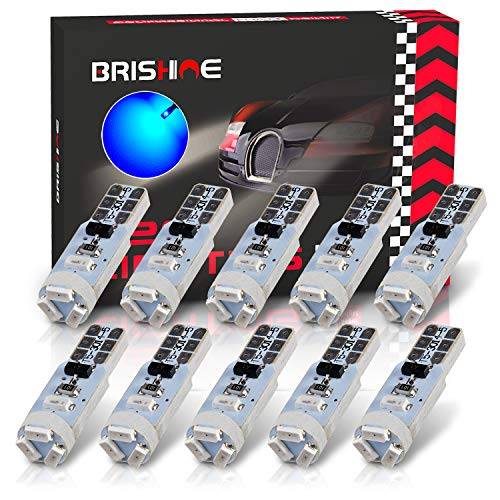 BRISHINE 10X T5 LED Bulbs Canbus Error Free Blue 3014 Chipsets 74 2721 37 PC74 Wedge LED Bulbs for Interior Gauge Cluster Dashboard Instrument Panel Speedo Indicator AC Lights
