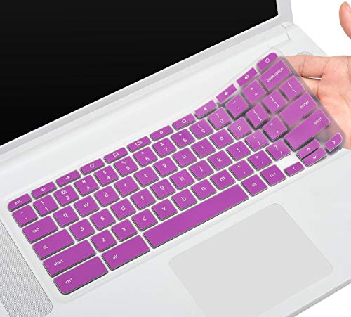 Acer 15.6' Chromebook Silicon Keyboard Protector Skin Cover for Acer Chromebook 15 CB3-531 CB3-532 CB5-571 C910 Chromebook US Layout, Purple