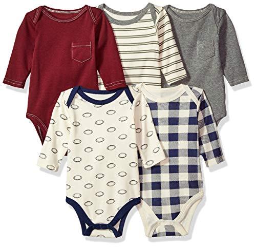 Hudson Baby Unisex Cotton Long-Sleeve Bodysuits, Burgundy Football, 0-3 Months