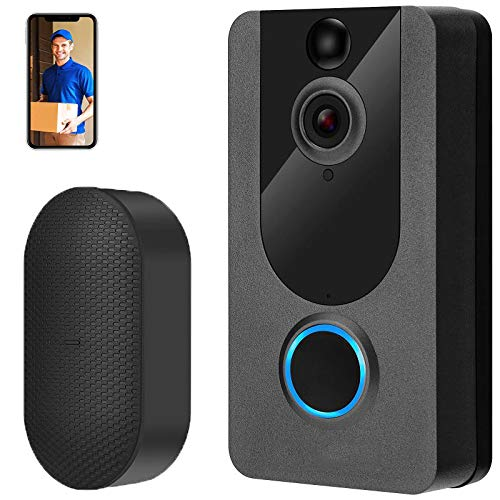 Video Doorbell Camera with Chime, 1080P Wireless Smart Doorbell 2.4GHZ with Free Cloud Storage, PIR Motion Detection, 2-Way Audio, 166°Wide Angle, Night Vision, IP65 Weatherproof for Home Security