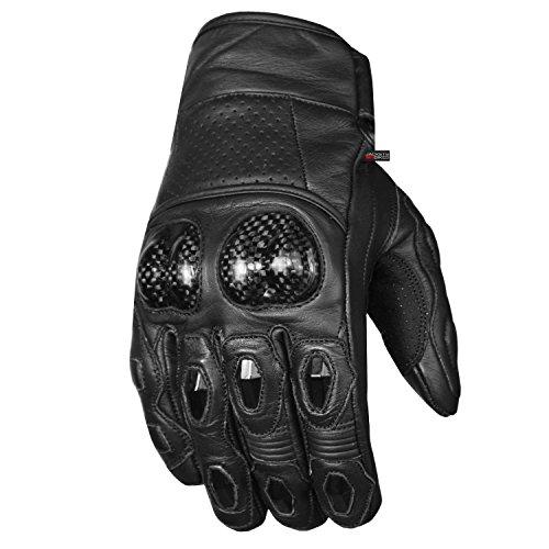 Men's Premium Leather Motorcycle Cruising Street Palm Sliders Biker Gloves XL