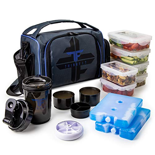 ThinkFit Insulated Meal Prep Lunch Box with 6 Food Portion Control Containers - BPA-Free, Reusable, Microwavable, Freezer Safe - With Shaker Cup, Pill Organizer, Shoulder Strap & Storage Pocket (Blue)