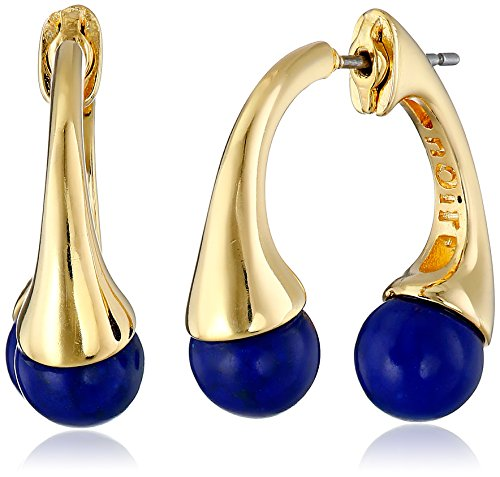 nOir Jewelry Gold and Lapis Sphere Semi Precious Front Back Earrings