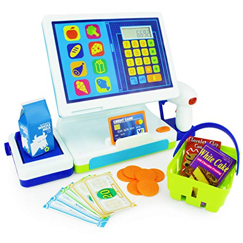 Boley Millennial Tablet Cash Register Toy - Cashier Station with AA Battery Calculator, Play Scanner and Credit Card Reader, Play Food, Pretend Money - Great Learning Resource for Your Toddler!