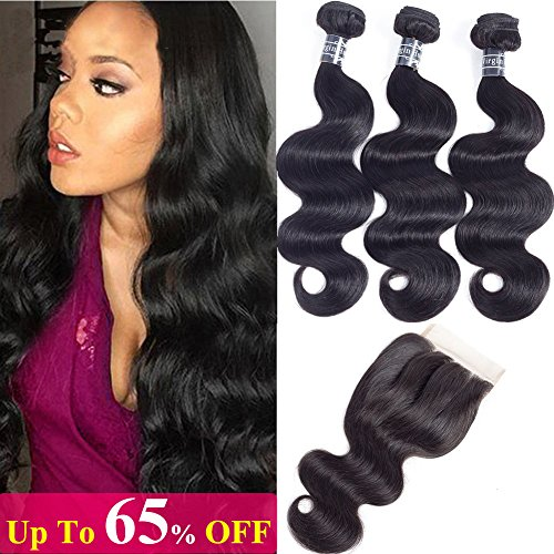 Amella Hair Brazilian Body Wave Human Hair 3 Bundles with Lace Closure (18' 20' 22'+16'Closure,Three Part,Natural Black) 8A 100% Unprocessed Brazilian Body Wave Human Hair Weave With Lace Closur