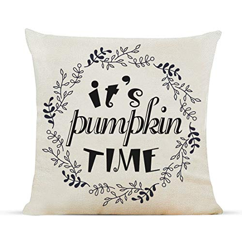 Diateklity Fall It's Pumpkin Time Wreath Throw Pillow Covers 18x18 Inches Farmhouse Decoration for Couch Sofa Patio Cotton Linen Pillowcases