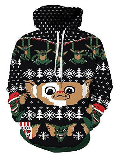 Couple 3D Santa Print Ugly Christmas Kangaroo Pocket Sweatshirt Hoodies Pullover Elf S/M