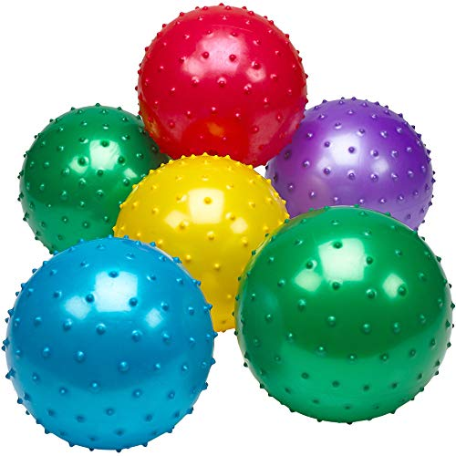 Bedwina Knobby Balls - (Pack of 6) Bulk 7 Inch Sensory Balls and Spiky Massage Stress Balls, Fun Bouncy Ball Party Favors, Stocking Stuffers for Kids, Toddlers