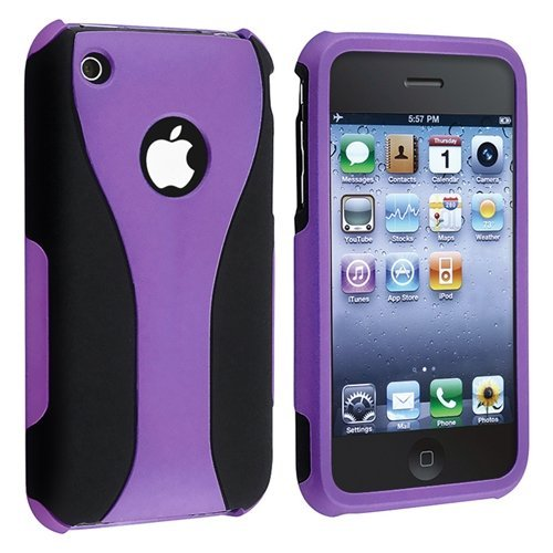Purple 3PIECE Hard CASE Cover for iPhone 3G 3GS S New