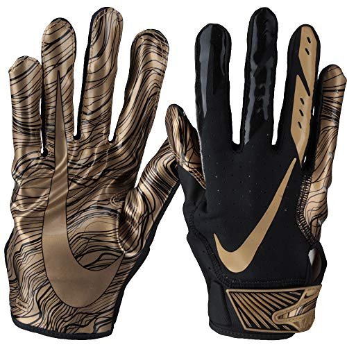 Nike Men's Vapor Jet 5.0 Football Gloves (Black/Metallic Gold, Medium)