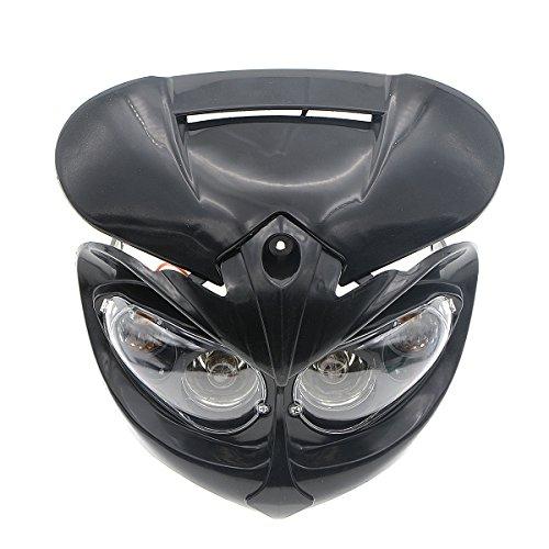 ZYHW Motorcycle Street Fighter Black Headlight Fairing Light Lamp Yellow Amber Color (Black)