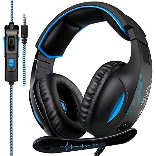 SADES Gaming Headset for PS4, Xbox One, PC 7.1 Channel Virtual Surround Stereo Wired Over Ear Gaming Headphones with Mic Revolution Volume Control Noise(Black)