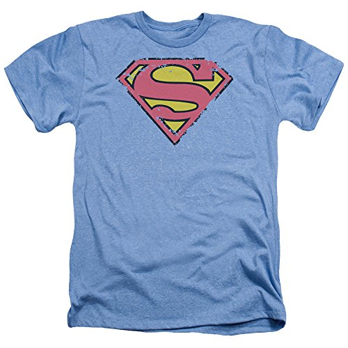 Superman Distressed Shield Unisex Adult Heather T Shirt for Men and Women, X-Large Light Blue
