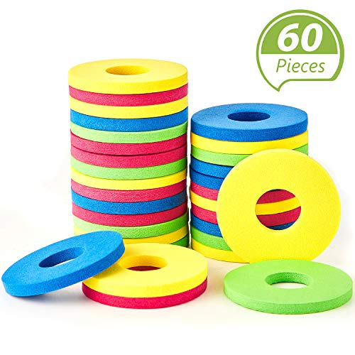 Sumind 60 Pieces Foam Disc Shooter Flying Foam Disc Toy for Remote Control Robot Toy, Red, Blue, Yellow, Green