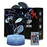 Magiclux 3D Illusion Sonic The Hedgehog Night Light, Anime Table Lamp with Remote Control Kids Bedroom Decoration, Creative Lighting for Kids and Sonic The Hedgehog Fans (Sonic The Hedgehog B)