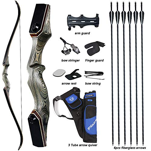 TOPARCHERY 60'' Archery Recurve Bow Takedown Bow Hunting Bow and Arrow Set Adult Target Practice Competition Survival Longbow Right Hand 30-50lbs with 6pcs Fiberglass Arrows (45)