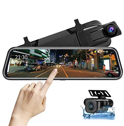 Upgraded 10'' Mirror Dash Cam Night Vision Front and Rear 1080P Backup Camera FHD Full Touch Screen Car Recorder with Loop Recording, G-Sensor, Parking Monitor 170° Wide Angle