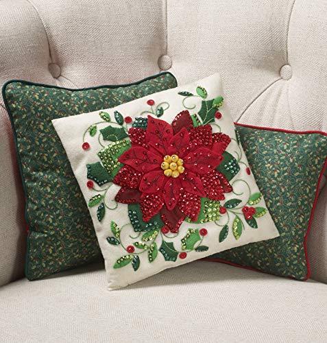 Bucilla Elegant Poinsettia Felt Applique Throw Pillow Kit
