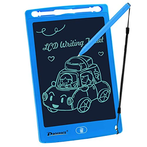 PROGRACE LCD Writing Tablet for Kids Learning Writing Board Magnetic Erase Writing Pad Smart Doodle Drawing Board for Boys Home School Office Portable Electronic Digital Handwriting Pad 8.5' (Blue)