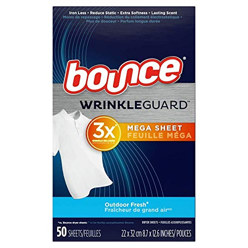 Bounce Wrinkle Guard Dryer Sheets Outdoor Fresh 50 Sheets Per Box