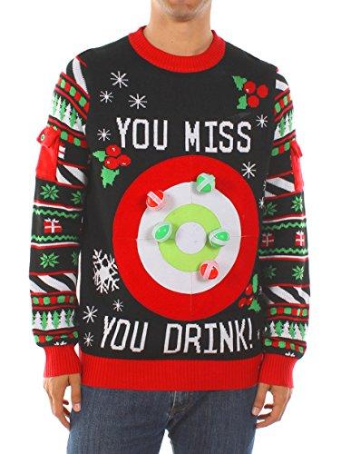 Tipsy Elves Men's Drinking Game Christmas Sweater: XX-Large Black