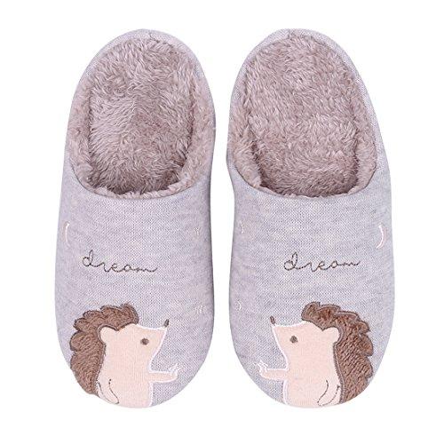Cute Hedgehog House Slippers Fuzzy Animal Bedroom Slippers Waterproof Sole Indoor Outdoor Slippers Grey Hedgehog Small