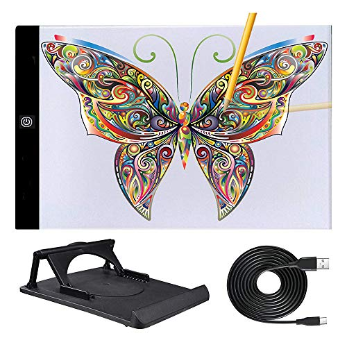 A4 A3 Light Box for Tracing Light Table Led Copy Board Ultra-Thin Adjustable USB Power Artcraft LED Trace Light Pad for Tattoo Drawing Streaming Sketching Animation Stenciling Diamond Painting (A4)
