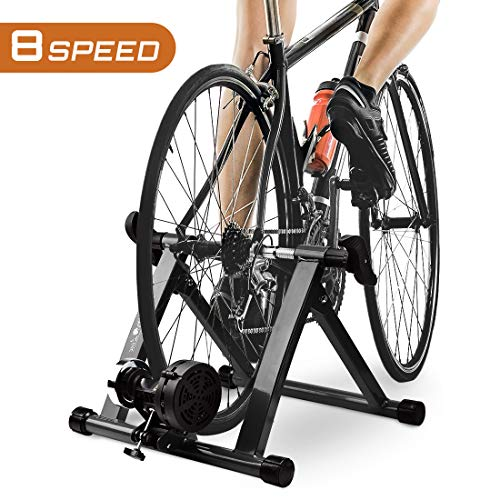 HEALTH LINE PRODUCT Bike Trainer Stand with 8 Resistance Setting, Portable 26'-28' Indoor Bicycle Trainer w Quiet Noise Reduction - Stationary Cycling Exercise for Road & Mountain Bikes