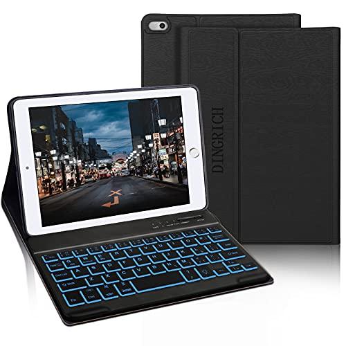 iPad Mini Keyboard Case, Compatible with iPad Mini 5/iPad Mini 4/iPad Mini 3/Mini 2/1-7 Color Backlit, Detachable Bluetooth Wireless Keyboard, Smart Folio Cover, Auto Sleep/Wake, Black