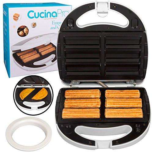 Empanada and Churro Maker Machine- Cooker w 4 Removable Plates- Easier than Empanada Press or Churro Press- Includes Dough Cutting Circle for Easy Dough Measurement, Fun Gift