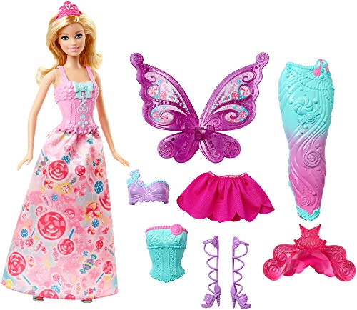 Barbie Doll with Outfits and Accessories for 3 Fairytale Characters, a Princess, Mermaid and Fairy, Gift for 3 to 7 Year Olds, [Amazon Exclusive]