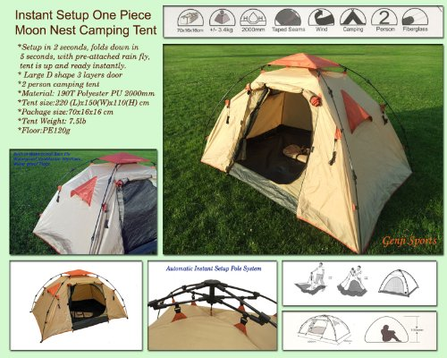 MoonNestTent Instant Setup One Piece Camping Tent