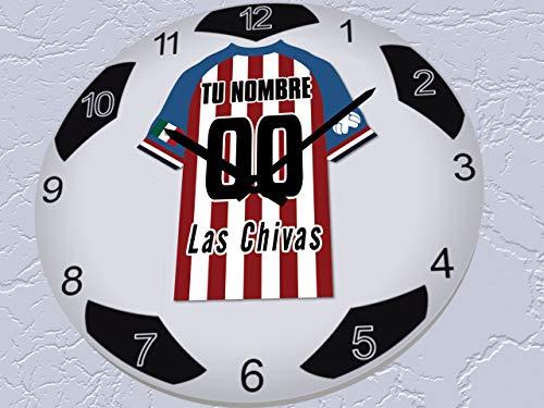 FanPlastic Liga MX Soccer Ball Wall Clocks - Any Team Colors Available/RELOJES DE PARED DE FÚTBOL Liga MX - CUALQUIER Color DE EQUIPO DISPONIBLE (C.D. Guadalajara Chivas Soccer Ball Clock)