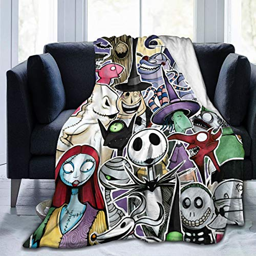Maxwellmore Nightmare Before Christmas Throw Blankets Lightweight Soft Flannel Bed Blanket for Home Sofa 60'X50'