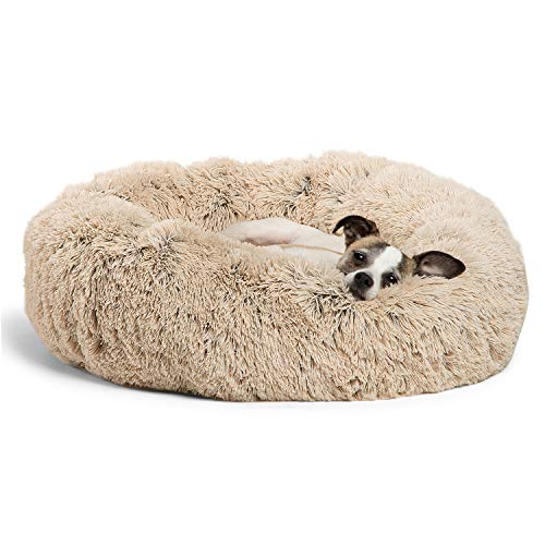 Best Friends by Sheri Calming Shag Vegan Fur Donut Cuddler (23x23 Small - Taupe), Cat and Dog Bed, Self Warming and Cozy for Improved Sleep, Machine Washable for Pets Up to 25 lbs.