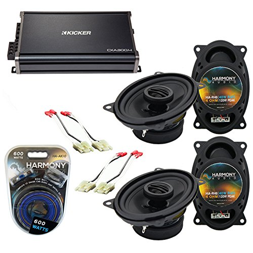 Compatible with Chevy CK Truck (Full Size) 88-94 Speaker Replacement Harmony Audio Bundle (2) R46 & CXA360.4 Amp