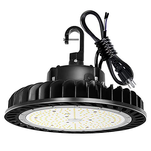 LED High Bay Light 100W 1-10V Dimmable 5000K 14,000lm UFO LED High Bay Light Fixture, 5' Cable with US Plug [175W/250W MH/HPS Equiv.] Commercial Warehouse/Workshop/Wet Location Area Light