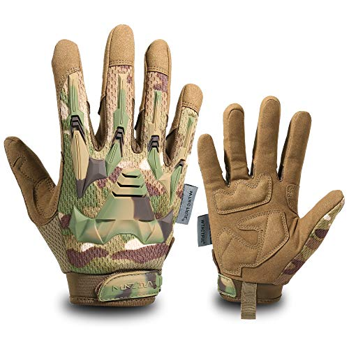 WTACTFUL Rubber Guard Full Finger Tactical Gloves for Airsoft Paintball Hunting Hiking Military Bicycle Army Cycling Motorbike Motorcycle Riding Driving Climbing Work Gear CP Medium