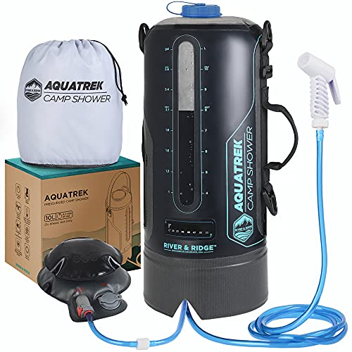 AQUATREK - THE BEST Portable Pressure Camping Shower | 3 Gal 12L Bag Tank Volume | Sustainable BPA-Free Material | Solar Heated Hot Water from Sun, Outdoor Tent Accessories for Cleaning & Rinsing