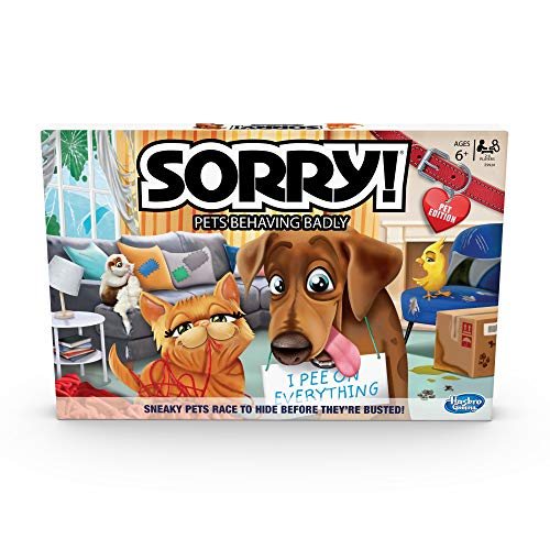 Sorry! Pets Behaving Badly Board Game, for Kids Ages 6 and Up, 2-4 Players