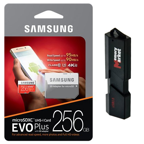 Samsung 256GB MicroSD XC Class 10 Grade 3 UHS-3 Mobile Memory Card for Samsung Galaxy S7 & S7 Edge S8 & S8 Plus with USB 3.0 MemoryMarket Dual Slot MicroSD & SD Memory Card Reader