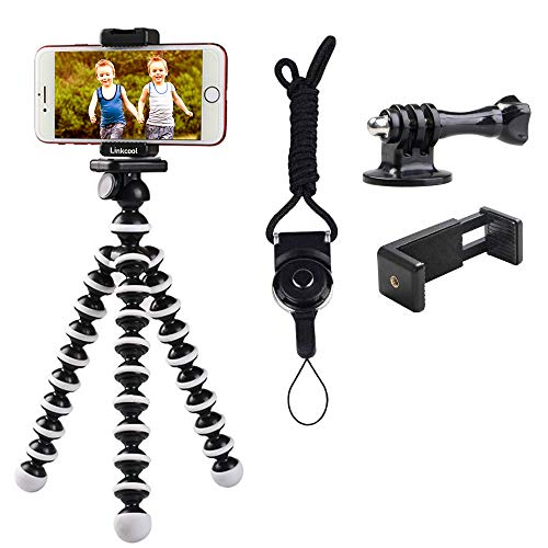 Phone Tripod, Linkcool Octopus Phone Tripod Portable and Adjustable Tripod Stand Holder with Universal Clip and Bluetooth Remote Compatible with Most Smartphones, GoPros, and Digital Cameras