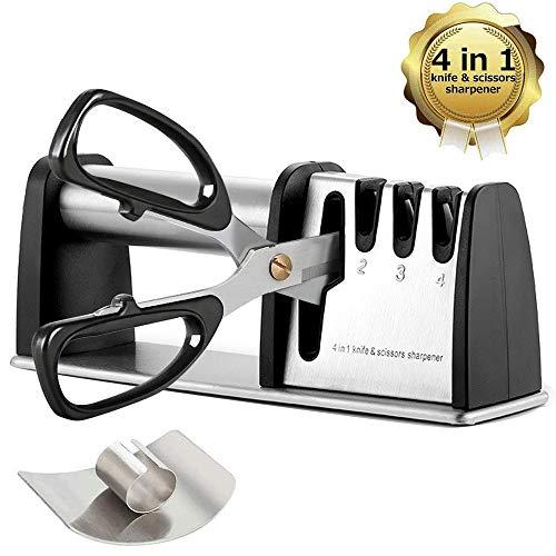 Knife Sharpeners, Best 4 in 1 Manual Kitchen Knives & Scissor Sharpeners, 4 - Stage Knife Sharpening System with Diamond Steel, Ceramic Stone, Ergonomic Design, Non-slip Base(Black)