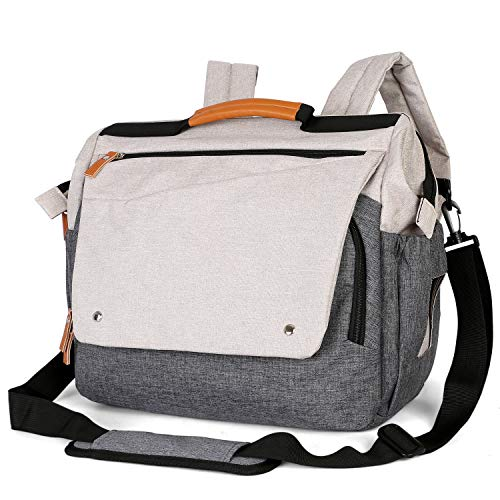Zpoint D1 Large Diaper Bag, Messenger & Backpack, Convertible Multi-Function Baby Nappy Changing, Wide Open, Water Resistant w/ Stroller Belts (Beige/Grey)