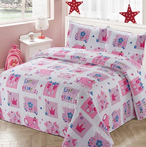 Better Home Style White and Pink Little Princess Kids/Girls Coverlet Bedspread Quilt Set with Pillowcases with Crown Castle Flowers and Butterflies Imagery # 2017206 (Twin)
